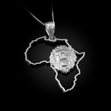 Sterling Silver Africa Map Lion Pendant Necklace