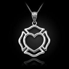 Sterling Silver Firefighter Claddagh Heart Pendant Necklace