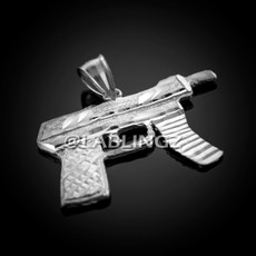 925 Sterling Silver Machine Pistol Gun Diamond-Cut Pendant