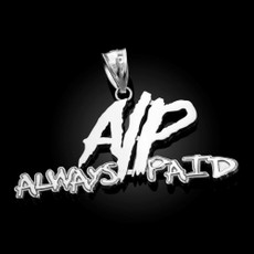 Polished Sterling Silver ALWAYS PAID Hip-Hop Pendant