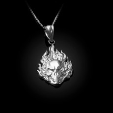 Flaming Skull Sterling Silver Pendant Necklace
