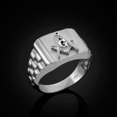 Sterling Silver Masonic Mens Ring
