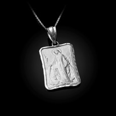 Sterling Silver Virgin Mary Miraculous Satin DC Pendant Necklace