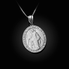 Sterling Silver Virgin Mary Conceived Without Sin Oval Satin Pendant Necklace