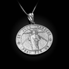 Sterling silver St. Jude Reversible Pray Medal Pendant Necklace