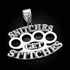 'SNITCHES GET STITCHES' Silver Knuckles Duster Hip-Hop Pendant