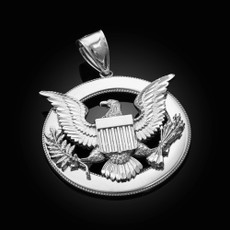 Sterling Silver Seal Of US President American Eagle DC Pendant