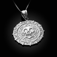 Sterling Silver  Aztec Coin Caribbean Pirates Skull Pendant Necklace