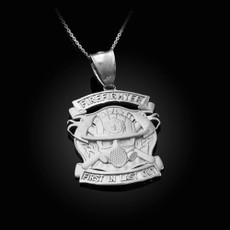 Sterling Silver Firefighter Pendant Necklace
