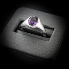 Sterling Silver Oval CZ Color Birthstone Signet Ring