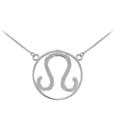 Silver Leo Zodiac Necklace