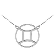 925 Sterling Silver Gemini Zodiac Sign Necklace