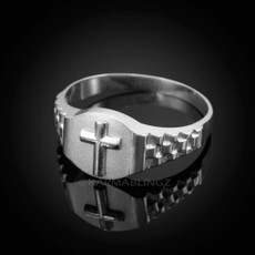 925 Sterling Silver Mens Cross Ring