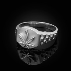 925 Sterling Silver Marijuana Weeds Leafs Mens Ring
