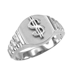 Silver Dollar Sign Ring