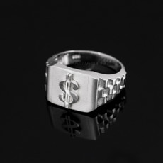 925 Sterling Silver Dollar Sign Mens Ring