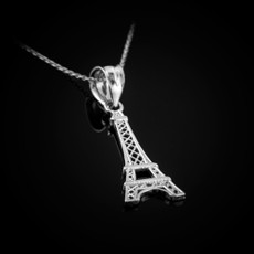 Sterling Silver Paris Eiffel Tower Travel Charm Necklace