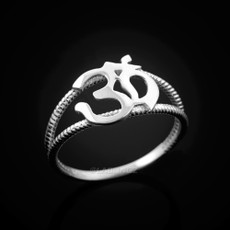 Sterling Silver Om Dainty Yoga Ring