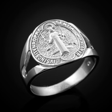 925 Sterling Silver Saint Benedict Medallion Ring