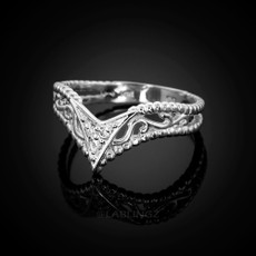 Sterling Silver Filigree Ladies CZ Chevron Ring