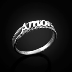 Sterling Silver AMOR Ladies Milgrain Ring