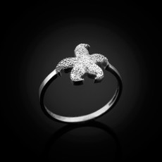 Dainty Sterling Silver Starfish Ring