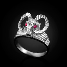 Sterling Silver Rams Head Red CZ Textured Ring