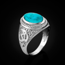 Silver Turquoise Om ring