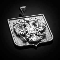 Sterling Silver Russian Federation Double-Headed Eagle Coat of Arms Badge Pendant