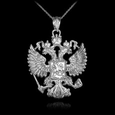 Silver Russian Slavic Crest Necklace
