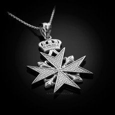 Sterling Silver Maltese Cross Pendant Necklace