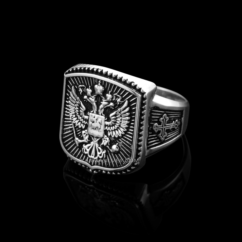 77f284c97 ... Double-headed Eagle Mens Orthodox Ring. Silver Russian Cross Ring