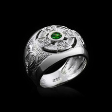 Sterling Silver Mens Celtic Trinity Birthstone CZ Ring