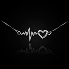 Silver Heartbeat EKG Necklace