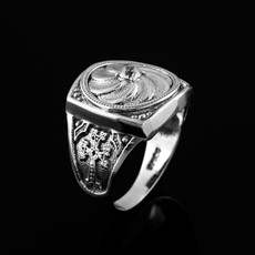 Sterling Silver Armenian Eternity  Shield Mens Khachkar Cross CZ Birthstone Ring