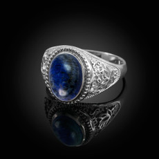 Sterling Silver Lapis Lazuli Yoga Lotus Statement Ring