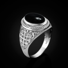 Sterling Silver Jerusalem Cross Black Onyx Statement Ring