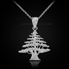 Sterling Silver Cedar Tree of Lebanon Charm Pendant Necklace