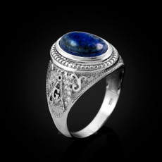 Sterling Silver Masonic Ring with Lapis Lazuli Gemstone
