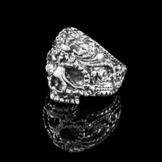 Solid Sterling Silver Skull Head Fleur-de-Lis Biker Ring