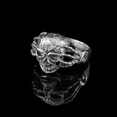 Sterling Silver Skeletal Hands Skull Ring