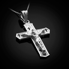 Sterling Silver Crucifix Cross Charm Necklace