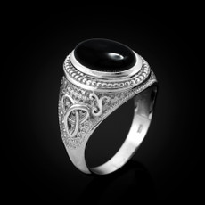 Sterling Silver Celtic Band Black Onyx Statement Ring