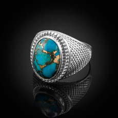 Sterling Silver Blue Copper Turquoise Statement Ring