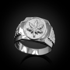 Sterling Silver Marijuana Leaf Mens Nugget Ring