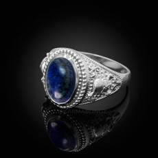 Sterling Silver Skull and Bone Lapis Lazuli Statement Ring.