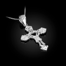 Sterling Silver Open Heart Cross Charm Pendant Necklace