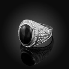 Sterling Silver Marijuana Weed  Black Onyx Statement Ring