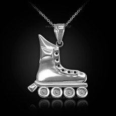 Sterling Silver Roller Skate Pendant Necklace
