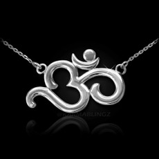 Sterling Silver Om (Aum) Yoga Mantra Necklace